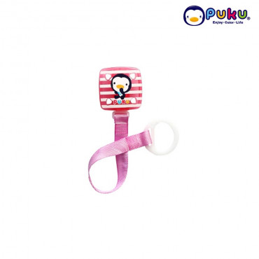 Puku Pacifier Chain 11114 (New Model ) Square Stripe-Pink