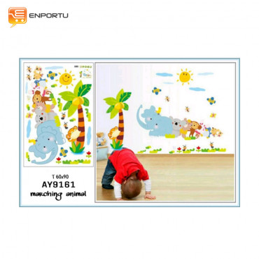 VENP Wall Sticker Transparant - Marching Animal