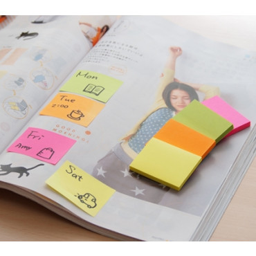 Stick'n Assorted Notes 21091 (1.5 x 2) Neon 4 Color